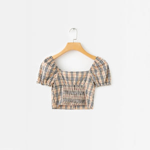 'Sophie' plaid crop top