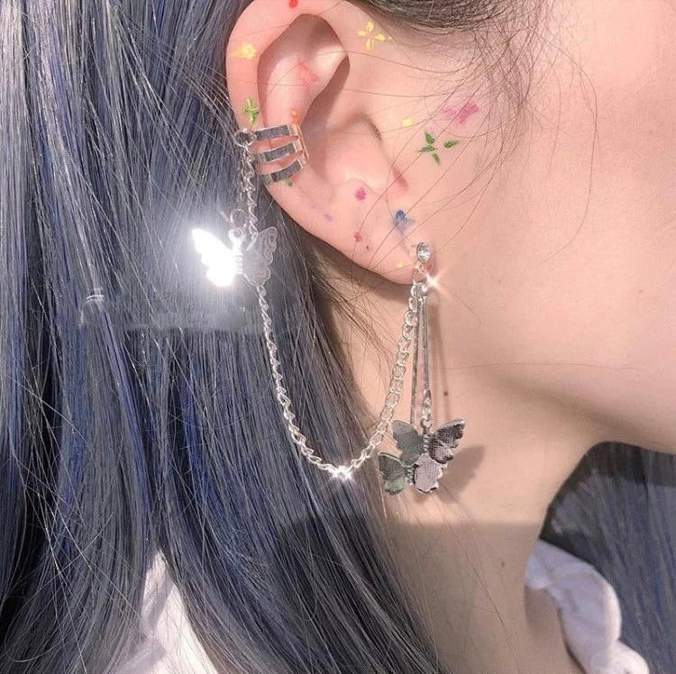 Butterfly earring chain