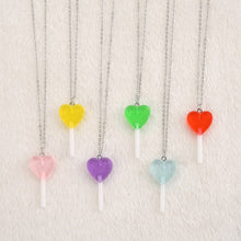 Load image into Gallery viewer, Heart lollipop necklace - 12 colours