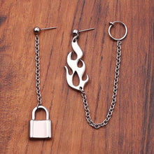 Load image into Gallery viewer, Flame & lock earrings