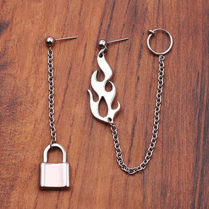 Flame & lock earrings