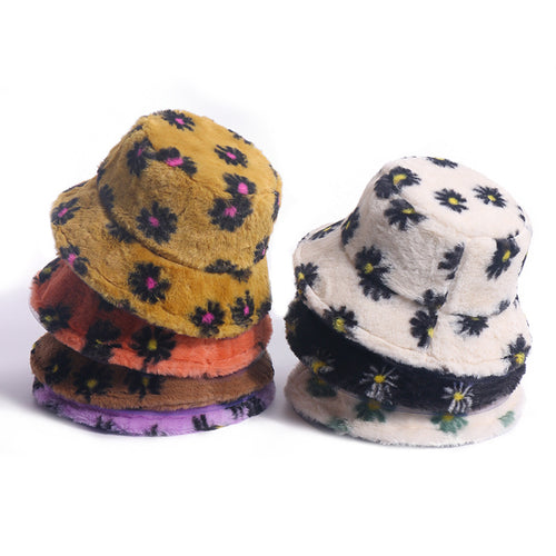 Fluffy Floral Hat - 7 Colours