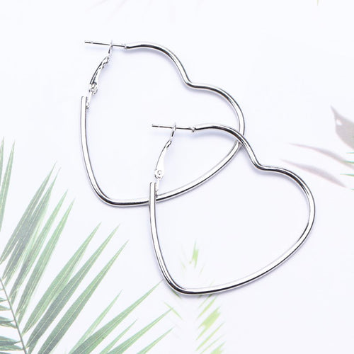 Heart hoop earrings - silver & gold