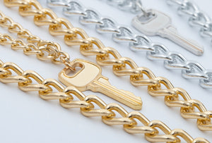Key & lock necklace - silver & gold