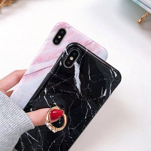 Marble iPhone hard case with rhinestone ring grip - 4 colours
