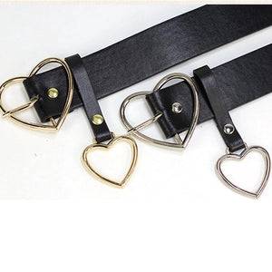 Double heart belt - silver & gold