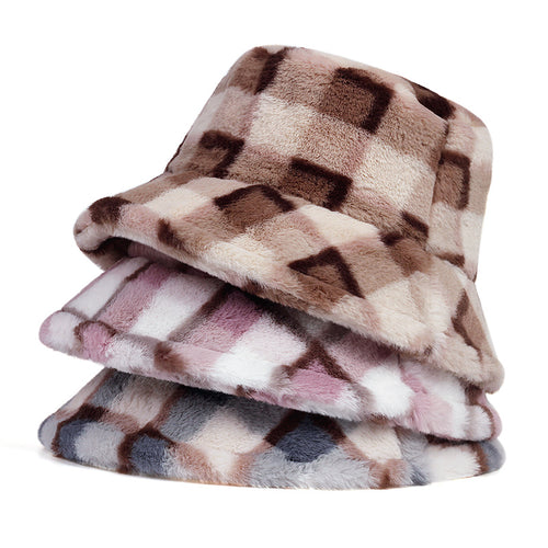 Fluffy Plaid Bucket Hat - 3 Colours