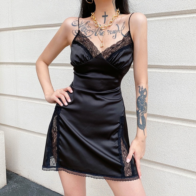 'Carissa' Satin Look Mini Dress