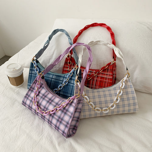 Plaid print handbag - 4 colours