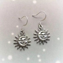 Load image into Gallery viewer, Sun & moon earrings - gold & silver