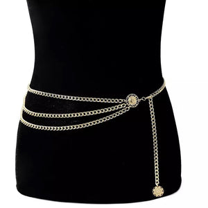 'Chained' coin belt- silver and gold