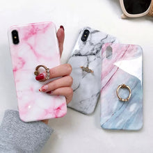 Load image into Gallery viewer, Marble iPhone hard case with rhinestone ring grip - 4 colours