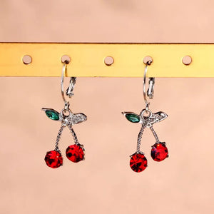 Rhinestone Cherry Earrings - 12 Colours