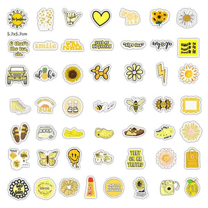 Yellow theme stickers - 50 pieces