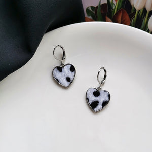 Cow Print Heart Shape Earrings
