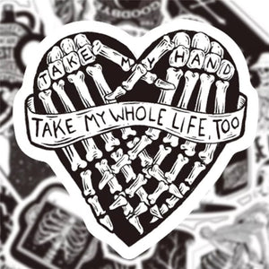 B&w skeleton stickers - 50 pieces