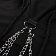 Load image into Gallery viewer, 'Uncaged' half cropped chain hoodie