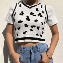 Load image into Gallery viewer, Cow print knitted crop vest