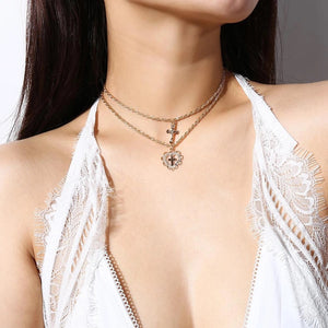 Heart cross layered choker necklace