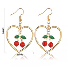 Load image into Gallery viewer, Cherry heart earrings