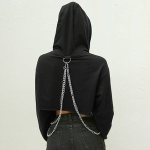 'Uncaged' half cropped chain hoodie