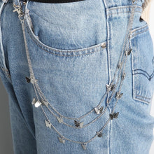 Load image into Gallery viewer, Butterfly pants chain - silver & gold