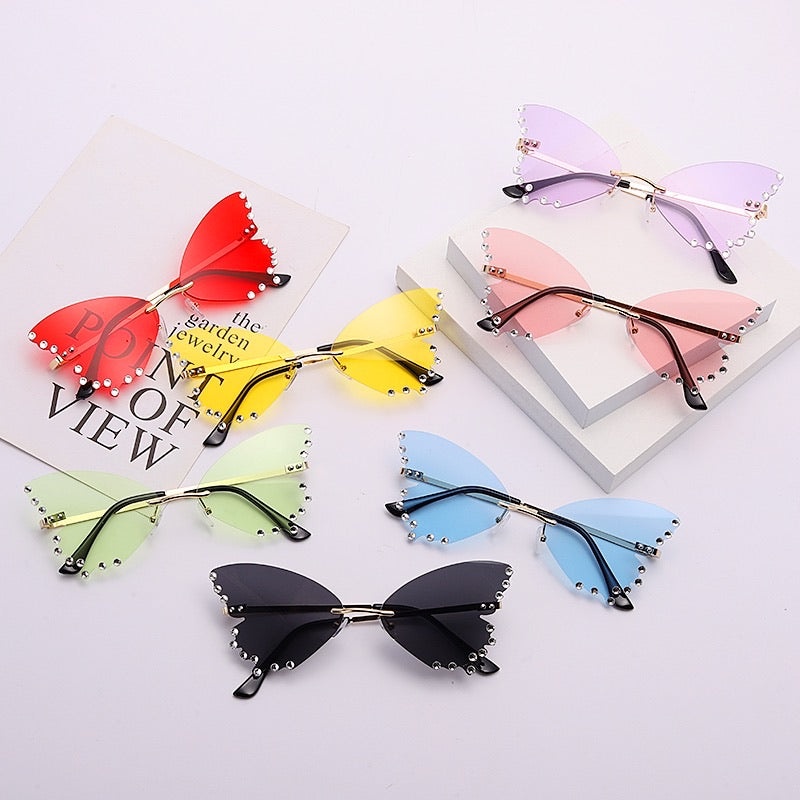 Rhinestone Butterfly Glasses - 7 colours