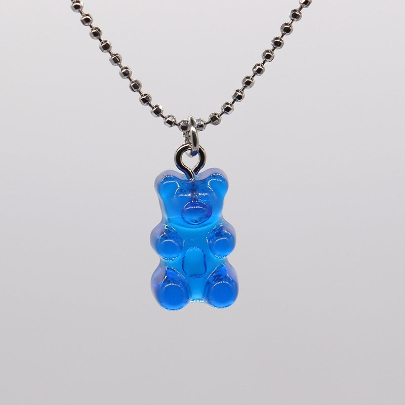 Gummy bear ball chain choker necklace - 8 colours