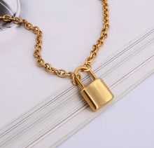Load image into Gallery viewer, Chunky chain necklace with padlock - 5 lengths, silver and gold