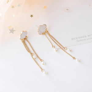 Pearl Chain Cloud Earrings