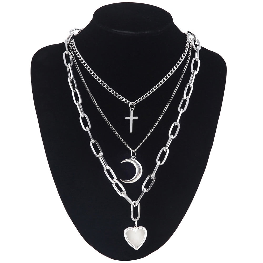 Cross, moon & heart chunky necklace set