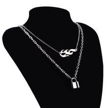 Load image into Gallery viewer, Flame & lock layered necklace