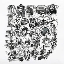 Load image into Gallery viewer, B&W old school tattoo stickers - 29 pieces