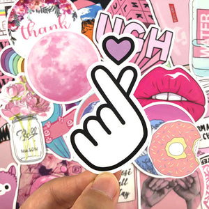Pink theme stickers - 50 & 100 pieces