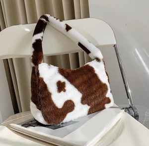 Fluffy Animal Print Baguette Bag - 4 Colours