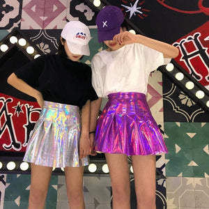 'Rave Queen' pleated holographic tennis skirt - 2 colours