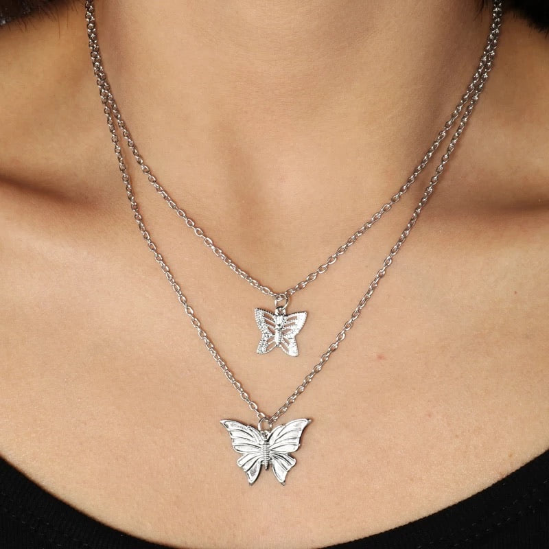 Layered butterfly necklace - 2 colours
