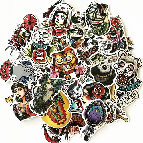 Old school tattoo stickers - 50 pieces