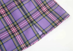 'Charlie' plaid skirt - red & purple