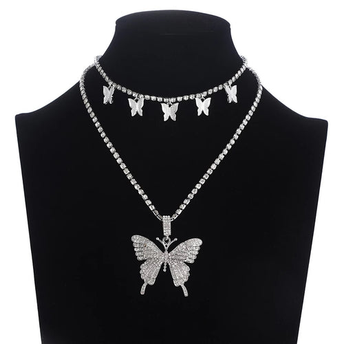 Rhinestone butterfly necklace set - 3 colours