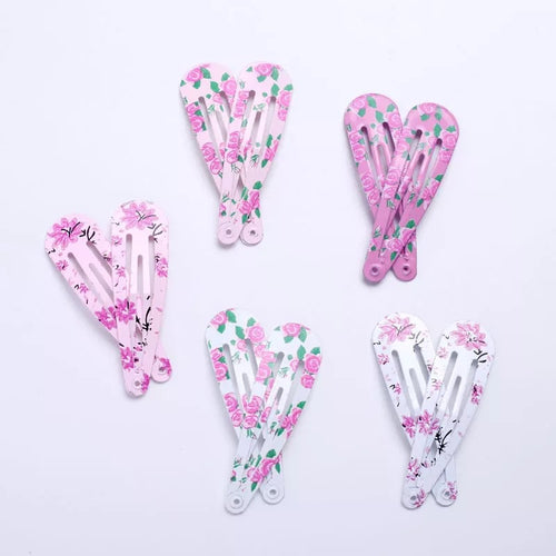 Pink floral hair clips - 10 pack