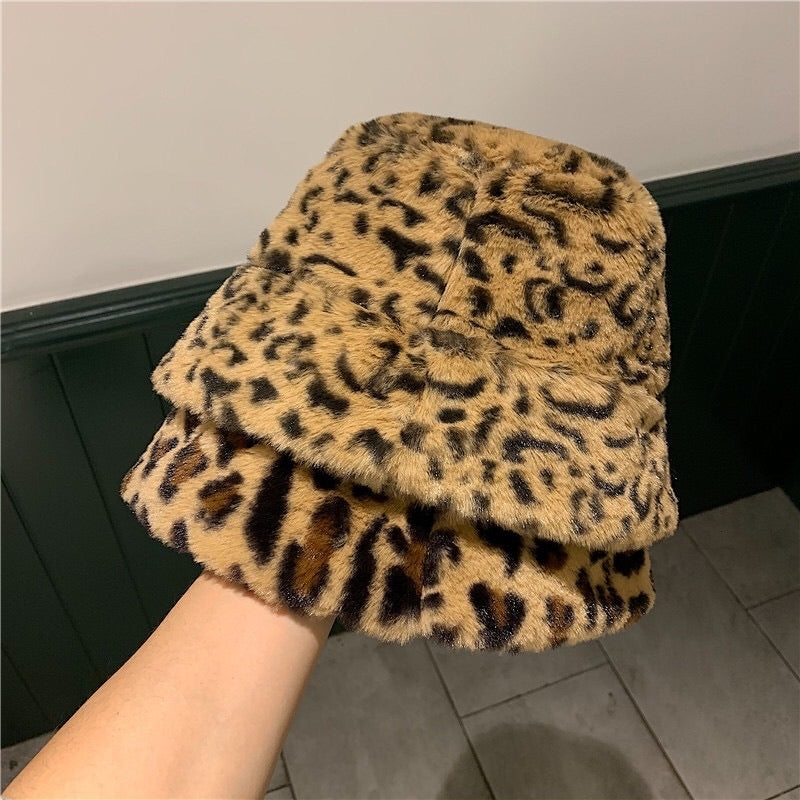 Fluffy Leopard Print Hat - 2 Colours