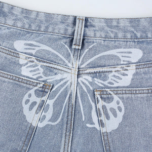 'Falling Behind' Butterfly Bleached Jeans
