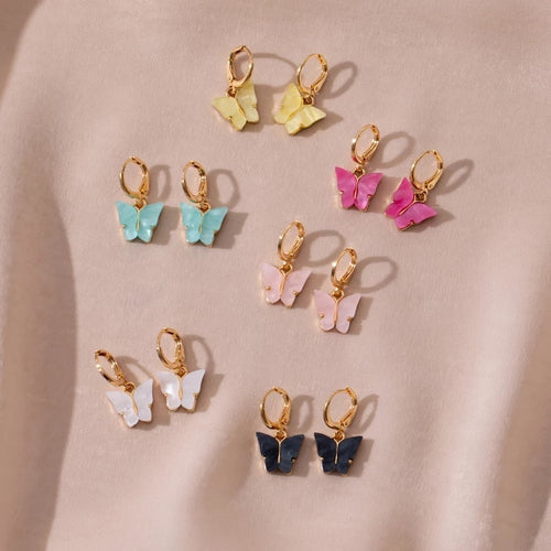 Butterfly hoop earrings - 11 colours