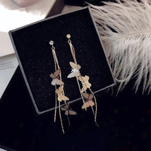 Load image into Gallery viewer, Dangle butterfly earrings - gold & silver