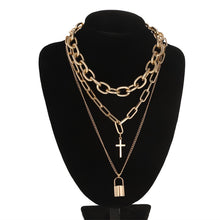 Load image into Gallery viewer, Chain, cross & padlock chunky necklace set - 2 colours