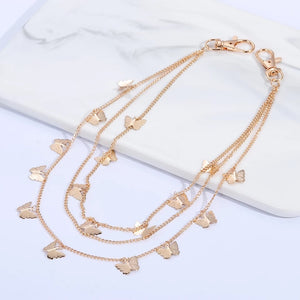 Butterfly pants chain - silver & gold