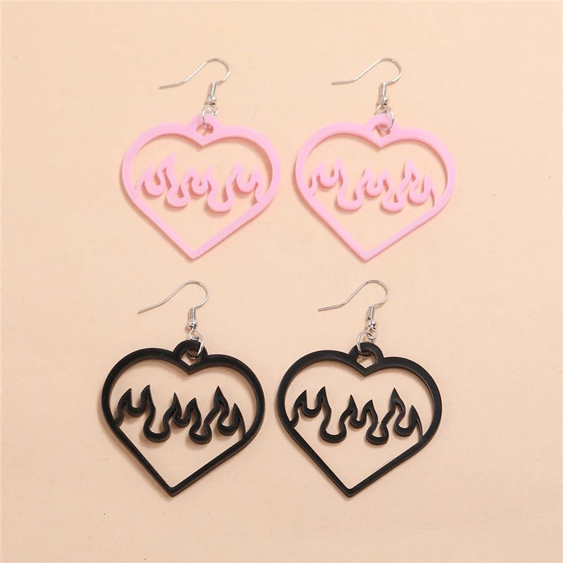 2 Pairs of Heart Flame Earrings
