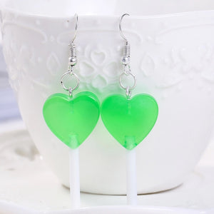 Heart Lollypop Earrings - 11 colours