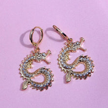 Load image into Gallery viewer, Rhinestone dragon earrings - gold & silver